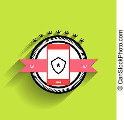 vecteur, plat, smartphone, conception, icône