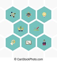 vecteur, plat, soutien, elements., discussion, compagnie, horaire, démarrage, inclut, symboles, aussi, ensemble, icônes, objects., autre, ampoule, plante