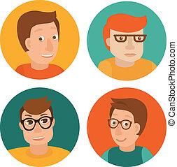 vecteur, plat, style, ensemble, avatars