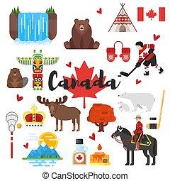 vecteur, plat, style, ensemble, canadien, national, culturel, symbols.