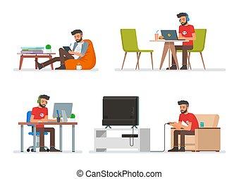 vecteur, plat, style, ensemble, caractères, gens fonctionnement, icônes, isolé, jouer, livre, vidéo, computer., jeux, homme, hipster, lecture, électronique, dessin animé, design.