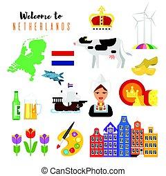 vecteur, plat, style, pays-bas, national, symbols., culturel, ensemble