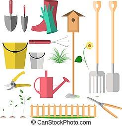 vecteur, plat, style, tools., jardin, icons., ensemble