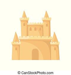 vecteur, plat, towers., vacation., castle., royal, sable, élément, enfants, jeu, livre, mobile, plage, ou, forteresse, icône