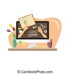 vecteur, plat, vidéo, canal, illustration, créatif