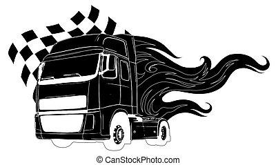 vecteur, plat, vue, simple, devant, illustration, camion