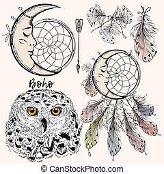 vecteur, plumes, arow, ensemble, hibou, dreamcatcher, boho