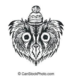 vecteur, plumes, porter, oiseau, hibou, mussy, chaud, illustration, hipster, chapeau, hiver