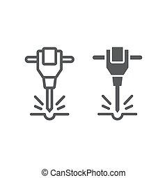vecteur, pneumatique, signe, outillage, icône, construction, graphiques, marteau-piqueur, ligne, marteau, réparation, glyph