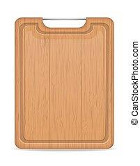 vecteur, poignée, bois, métal, illustration, planche découper