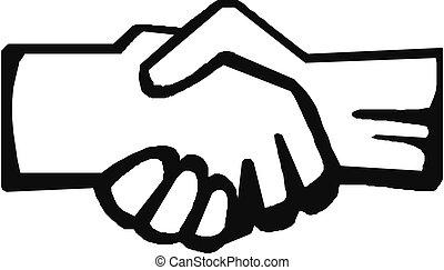 vecteur, poignée main, symbole