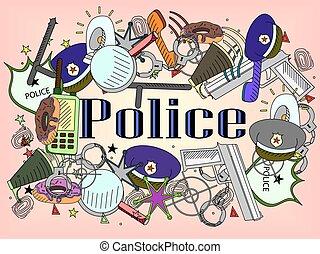 vecteur, police, illustration