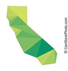vecteur, polygonal, carte, vert, calif