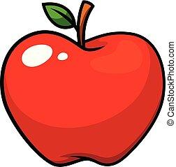 vecteur, pomme, fruit, dessin animé