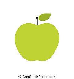 vecteur, pomme verte