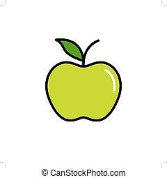 vecteur, pomme verte, icône