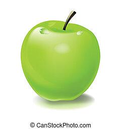vecteur, pomme verte, illustration