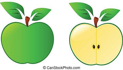 vecteur, pomme verte, isolé