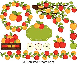 vecteur, pommes, ensemble