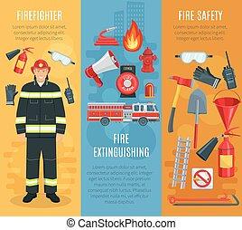 vecteur, pompier, bannières, firefighting, ensemble, outils