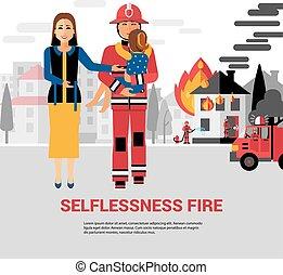 vecteur, pompier, secourir, illustration, enfant