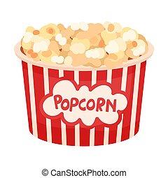 vecteur, popcorn., arrière-plan., seau, blanc, illustration, grand