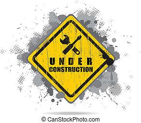 vecteur, porté, signe, construction, sous, tools., route