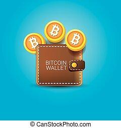 vecteur, portefeuille, pièces, bitcoin, icône
