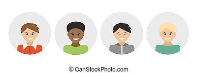 vecteur, portraits., illustration., gens, multi-ethnique