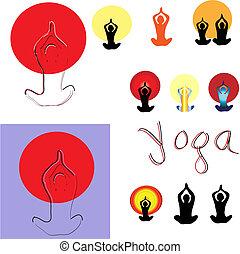 vecteur, poses., ensemble, yoga, illustration