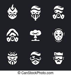 vecteur, post-apocalypse, ensemble, caractères, icons.
