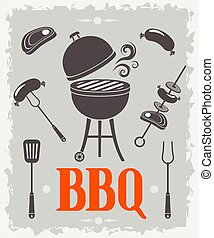 vecteur, poster., barbecue, illustration