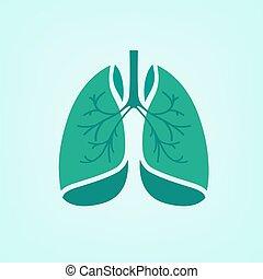 vecteur, poumons, icône