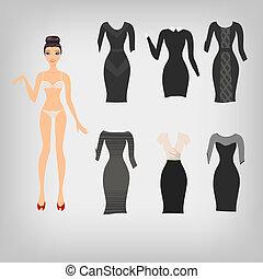 vecteur, poupée, classique, haut, simple, robe noire,...