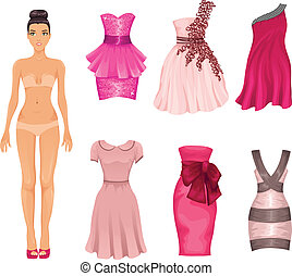 vecteur, poupée, s'habille, rose, robes