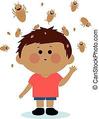 vecteur, poux, sien, garçon, head., illustration