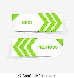 vecteur, précédent, et, suivant, navigation, boutons, pour, coutume, conception toile