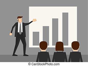 vecteur, présentation, dessin animé, illustration affaires
