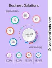 vecteur, présentation, solution, icones affaires