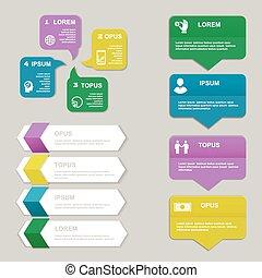 vecteur, présentation, template., numéroté, diagramme, lignes, bannières, coupure, site web, horizontal, infographics, conception, ou, graphique