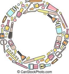 vecteur, prdicure, equipment., griffonnage, circulaire, manucure, illustration