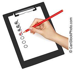 vecteur, presse-papiers, check-boxes., illustration.