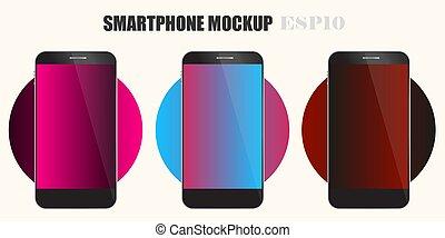 vecteur, prime, téléphone, écran, 10, mockup, illustration, eps, mobile, template.