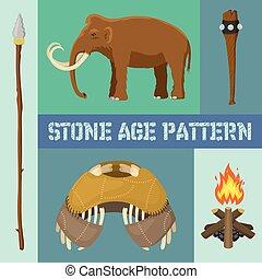 vecteur, primitif, ancien, animaux, illustration., chasse, neanderthals, sapiens., ménage, préhistorique, equipment., vie, ou, armes, homo, bannière, pierre, outils, âge, mammoth.