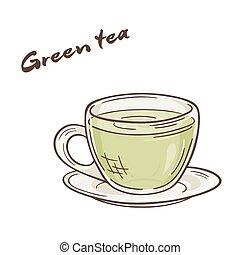 vecteur, printable, illustration, de, isolé, tasse, de, thé...
