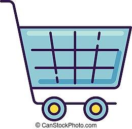 vecteur, produit, couleur, symbole., basket., commercer, magasin, bleu, ligne, commodité, chariot, commerce, rgb, achat, épicerie, supermarché, magasin, icon., checkout., isolé, purchase., trolley., illustration, mall.