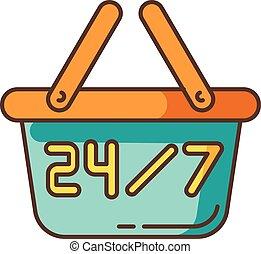 vecteur, produit, everyday., couleur, sept, 24, magasin, 7, vente au détail, signboard., commodité, shop., quatre, store., hrs, commerce, rgb, achat, supermarché, signe., panier, icon., industrie, isolé, heures, vingt, illustration