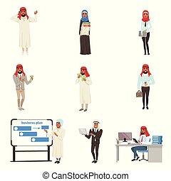 vecteur, professionnels, ensemble, travail, arabe, hommes affaires, caractères, illustrations