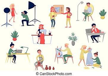 vecteur, professions., différent, mode, gens, photographe, plat, concepteurs, ensemble, artistique, artists., modèle, intérieur, freelancers