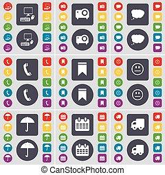 vecteur, projet, ensemble, coloré, plat, parapluie, marqueur, grand, pc, symbole., boutons, nuage, calendrier, camion, bavarder, récepteur, design., ton, sourire, icône